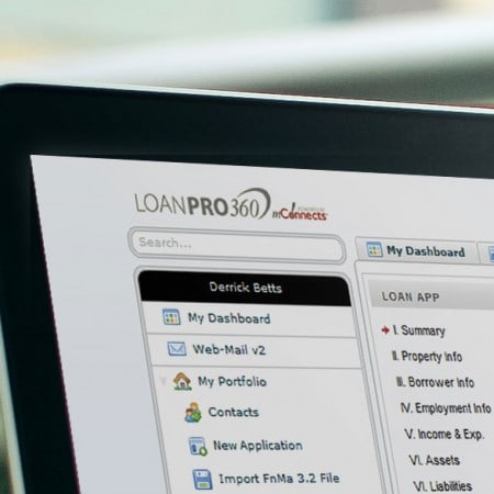 A close up of the dashboard of LoanPro 360