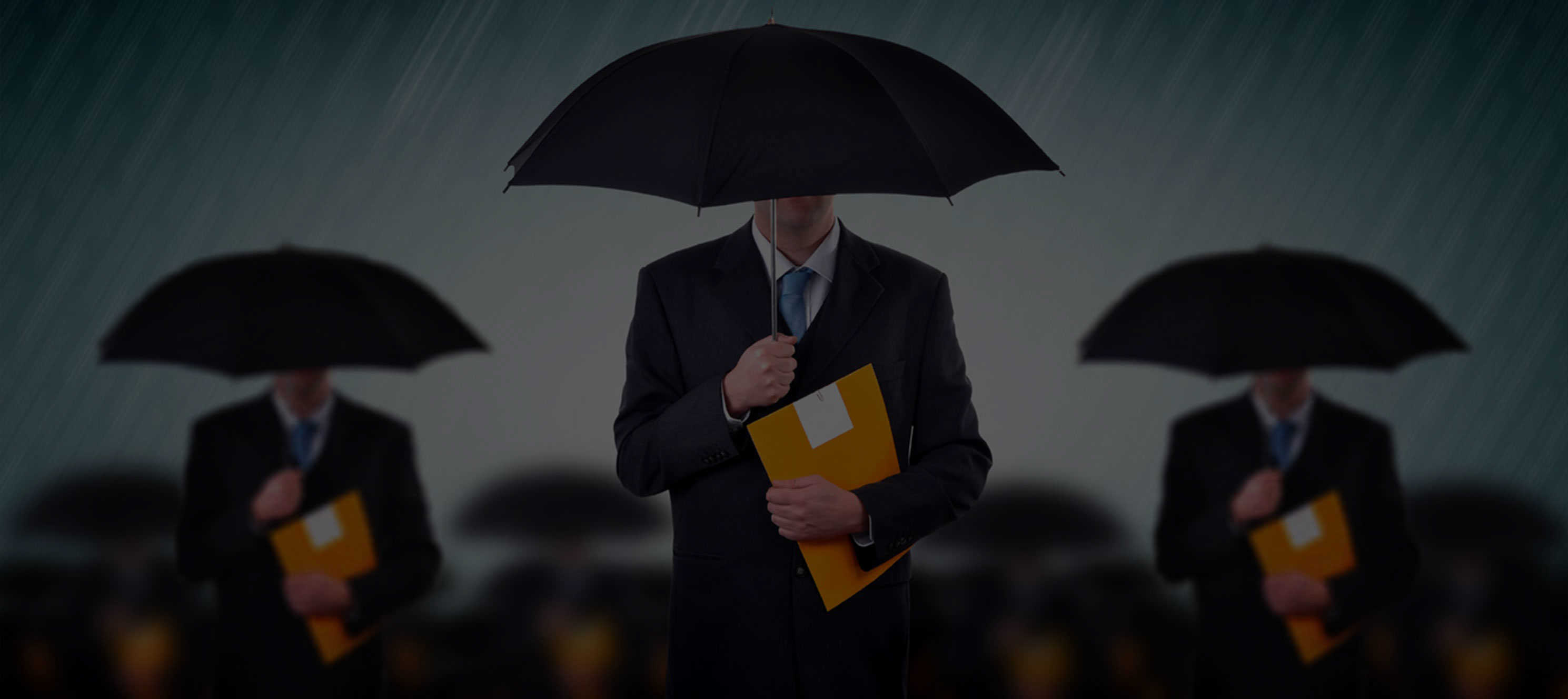 Three men in suits holding umbrellas and envelopes